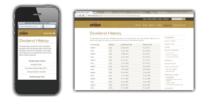 Marstons PLC responsive table screenshot