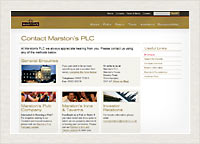 Marstons PLC website screenshot inner page